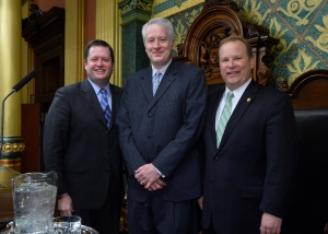 (L-R) Speaker of the House Jase Bolger, me, Rep. Pete MacGregor