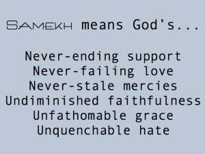 Samekh means...